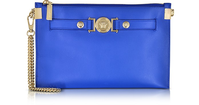 Small Signature Royal Blue Nappa Leather Pouch w/Chain Strap - Versace