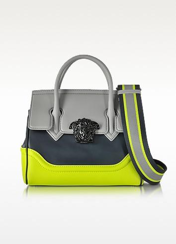 Small Palazzo Empire Color Block Leather Tote Bag - Versace