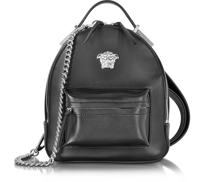 Palazzo Black Leather Medusa Backpack - Versace