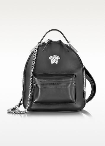 Palazzo Black Leather Medusa Backpack - Versace
