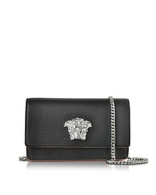 Black Grainy Leather Small Pouch - Versace