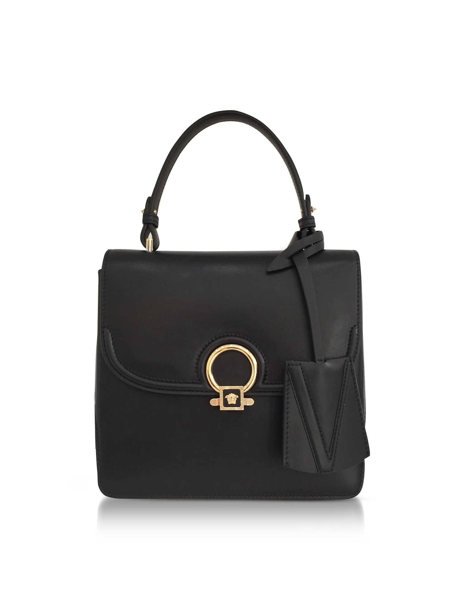 Versace Handbags, DV One Black Leather Medium Shoulder Bag w/Fully Charged Suede Lateral Gussets