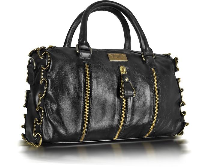 VJC - Black Zip Detailed Leather Satchel Bag - Versace