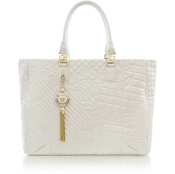 Elettra Vanitas - Large White Quilted Leather Tote - Versace