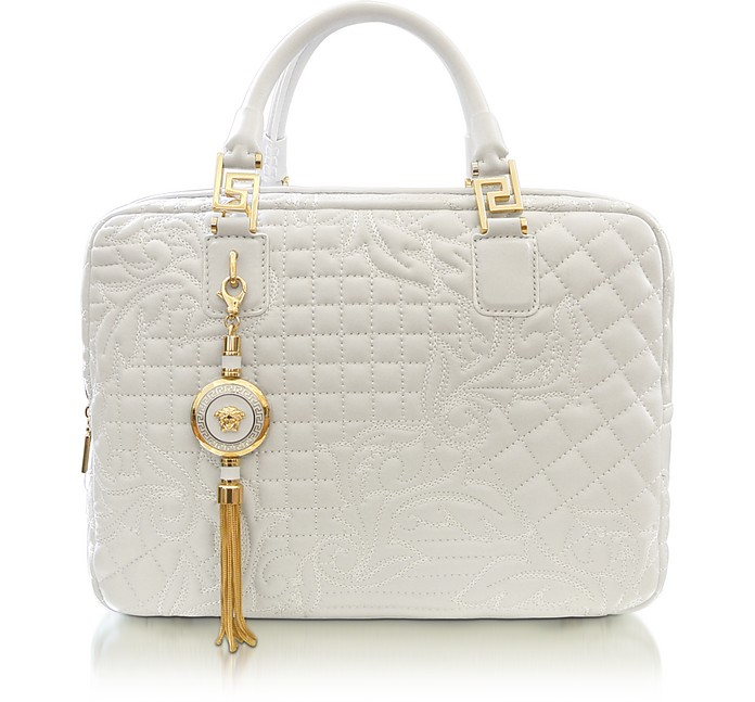 Demetra Vanitas Large White Quilted Leather Satchel - Versace