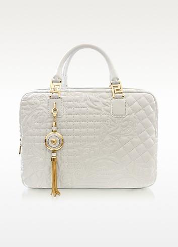 Demetra Vanitas Large White Quilted Leather Satchel - Versace