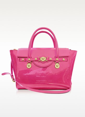 Large Signature Patent Leather Tote - Versace