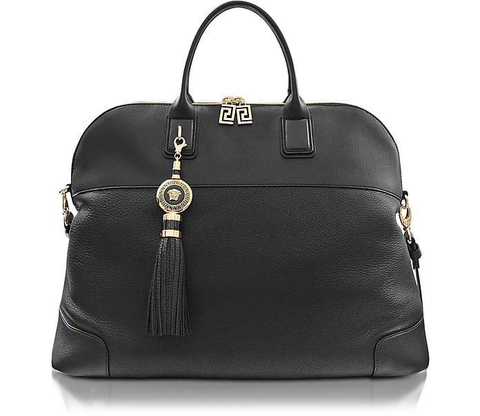 Athena Antique Black Leather Satchel - Versace
