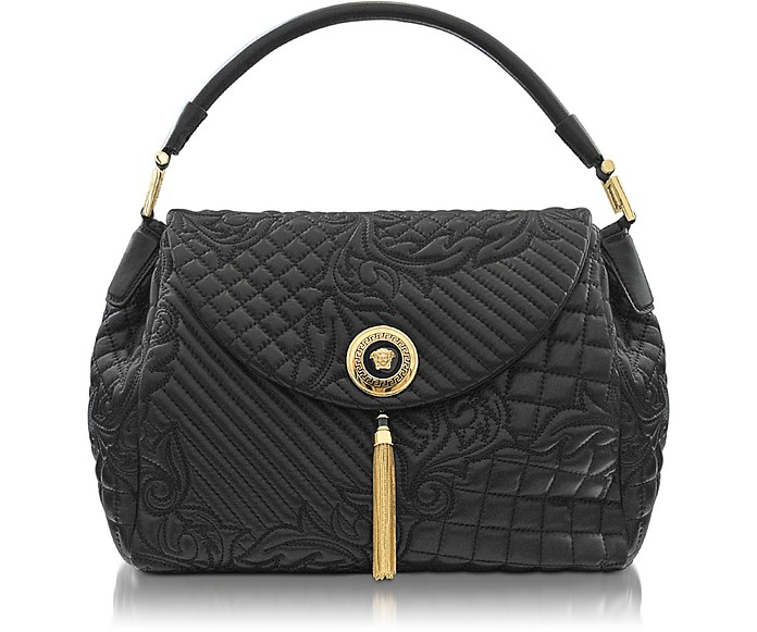 Talia Vanitas Black Embossed Leather Shoulder Bag - Versace