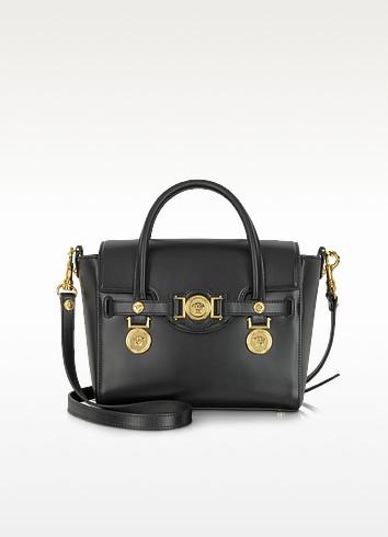 Golden Signature Black Leather Satchel Bag - Versace