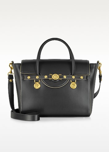 Signature Large Tote Golden Piping - Versace