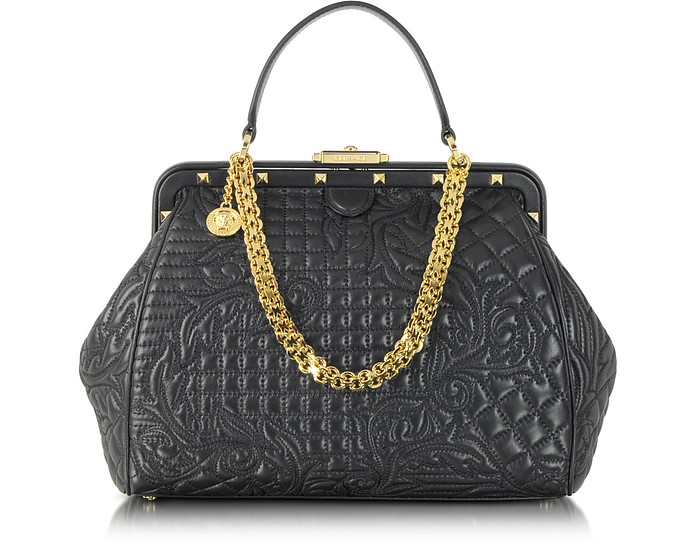 Vanitas Black Quilted Leather Satchel - Versace