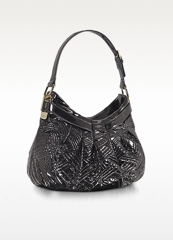 VJC - Black Quilted Patent Hobo Bag - Versace