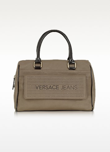 Versace Jeans - Taupe Eco Leather Satchel - Versace Jeans
