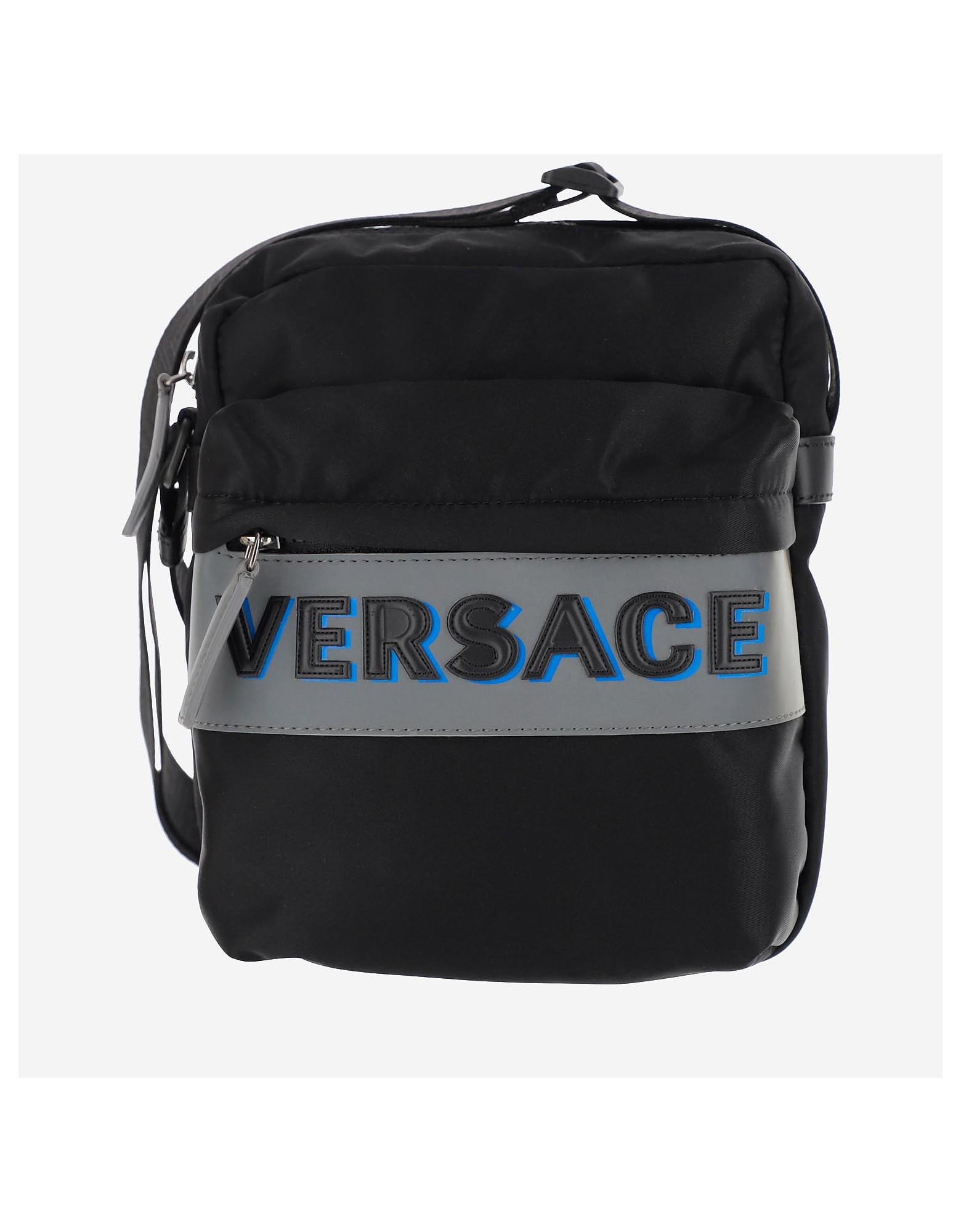 Versace Designer Men's Bags, Versace Nylon Messenger Bag