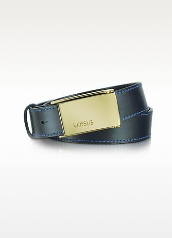 Versus - Signature Buckle Blue Leather Belt - Versace