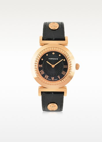 VERSACE Sapphire Black Dial Leather Strap Watch