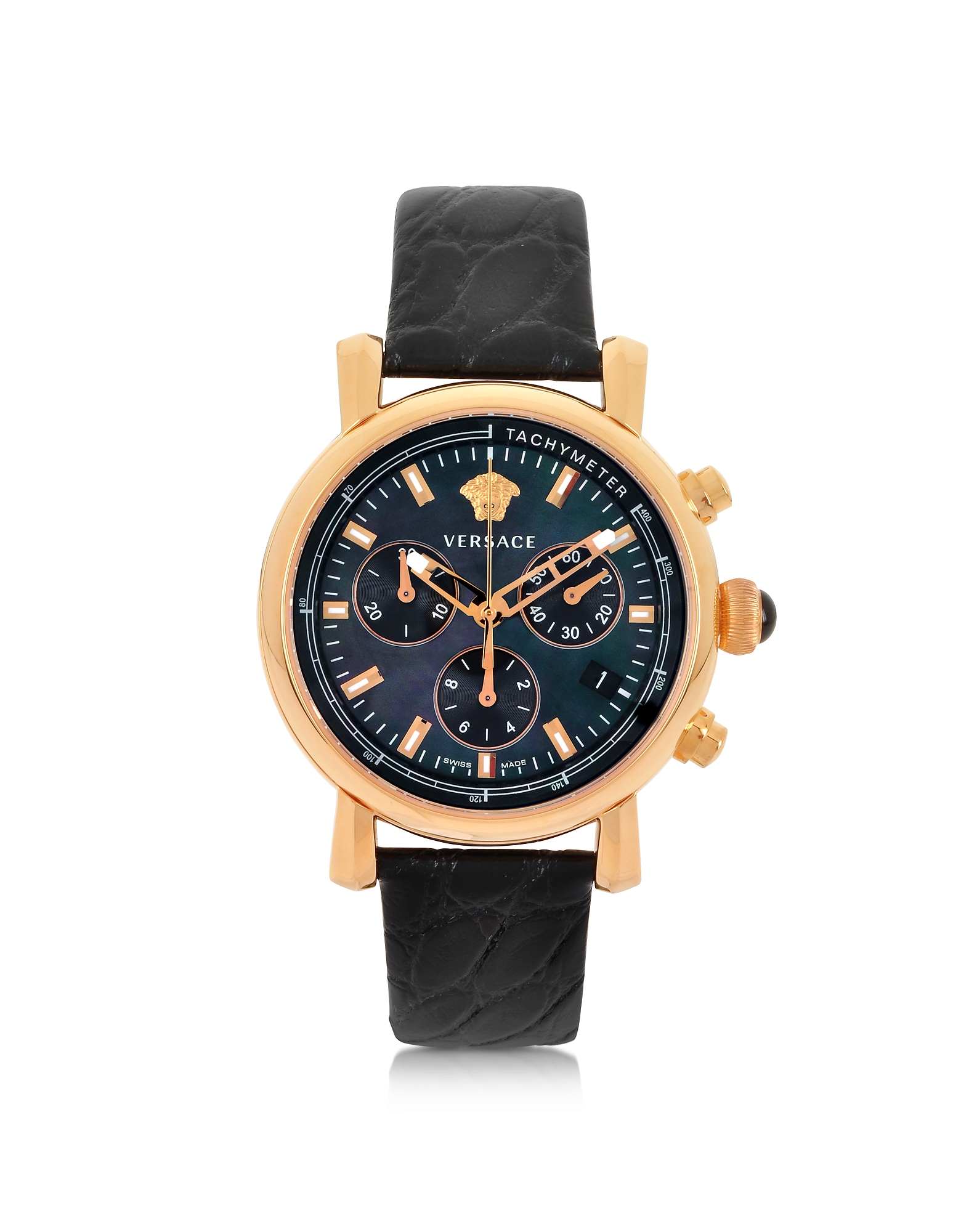 Versace Women's Watches, Black and Gold Women's Chronograph Watch