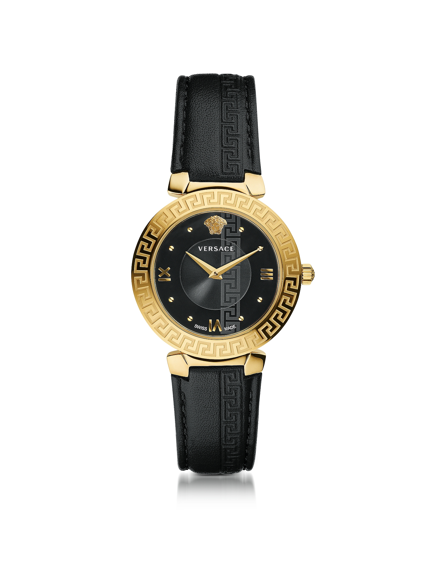 Versace Women's Watches, Daphnis Black and PVD Gold Plated Women's Watch w/Greek Engraving