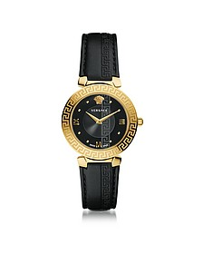 Daphnis Black and PVD Gold Plated Women's Watch w/Greca Engraving - Versace