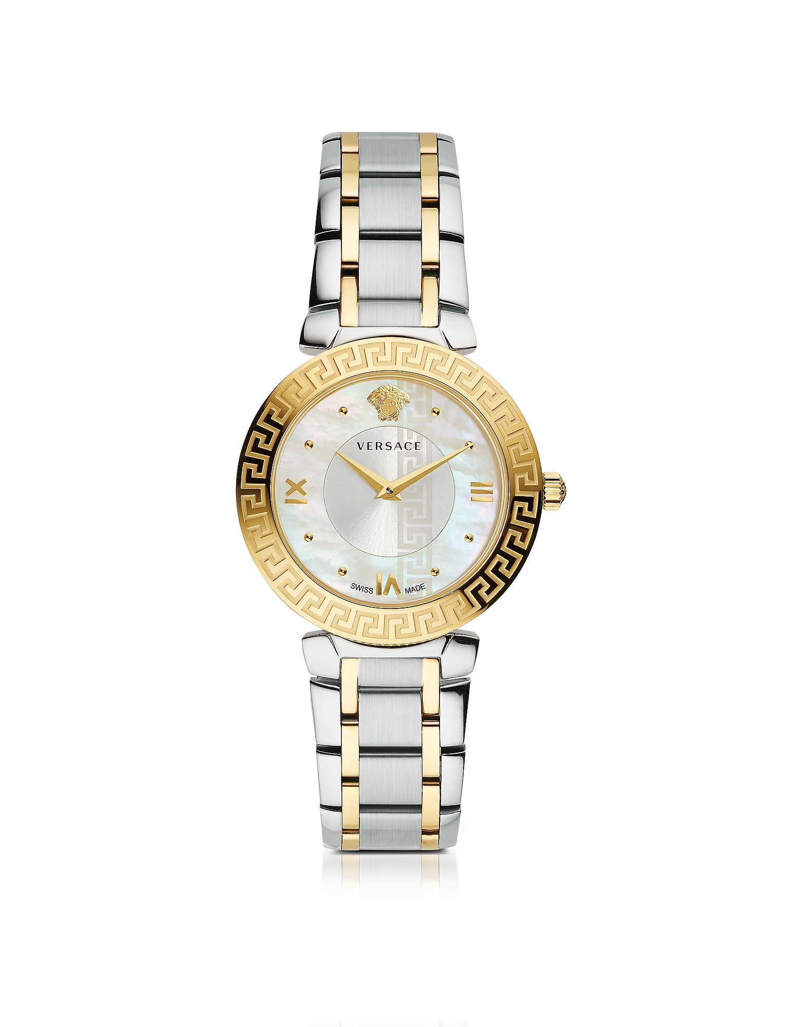 Versace Women's Watches, Daphnis Two-Tone Stainless Steel Women's Watch w/Greek Engraving