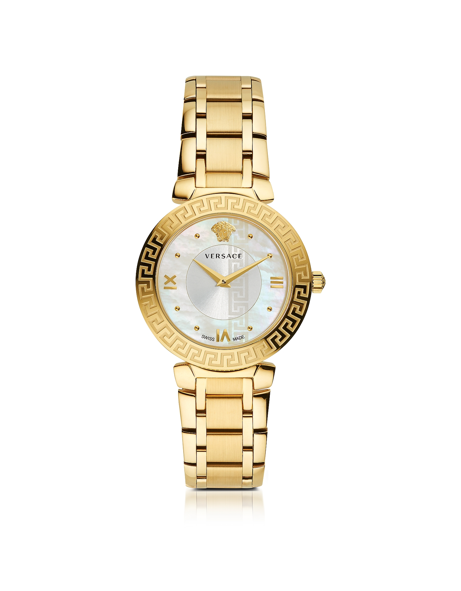 Versace Women's Watches, Daphnis PVD Gold Plated Women's Watch w/Greek Engraving