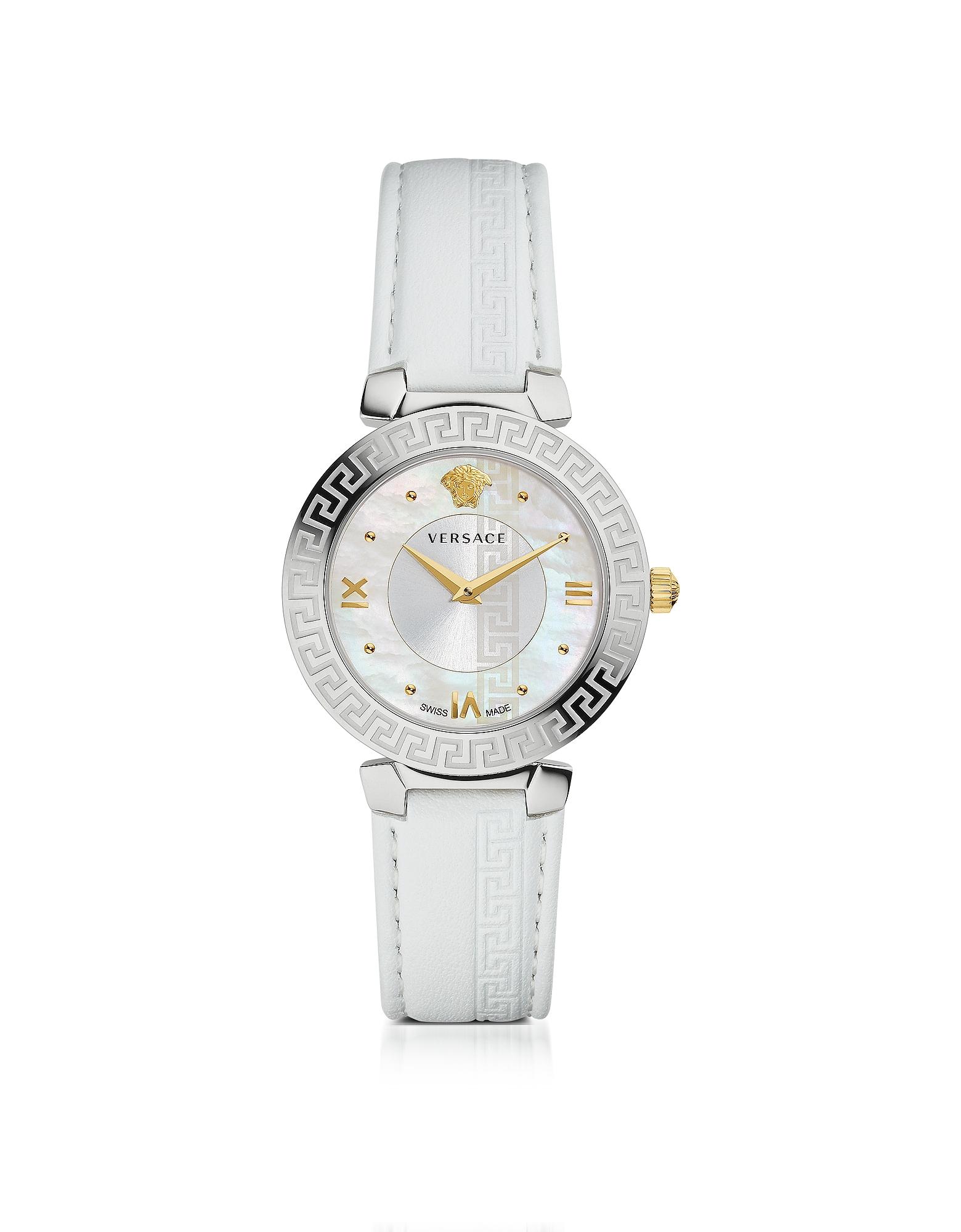 Фото Daphnis - Белые Женские Часы с Гравировкой Греческого Узора. Купить с доставкой