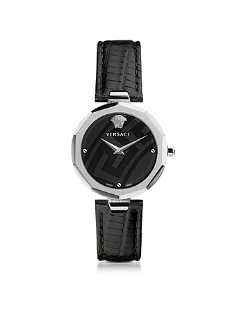 Versace - Idyia Decagonal Black and Silver Women's Watch w/Greca Engraving