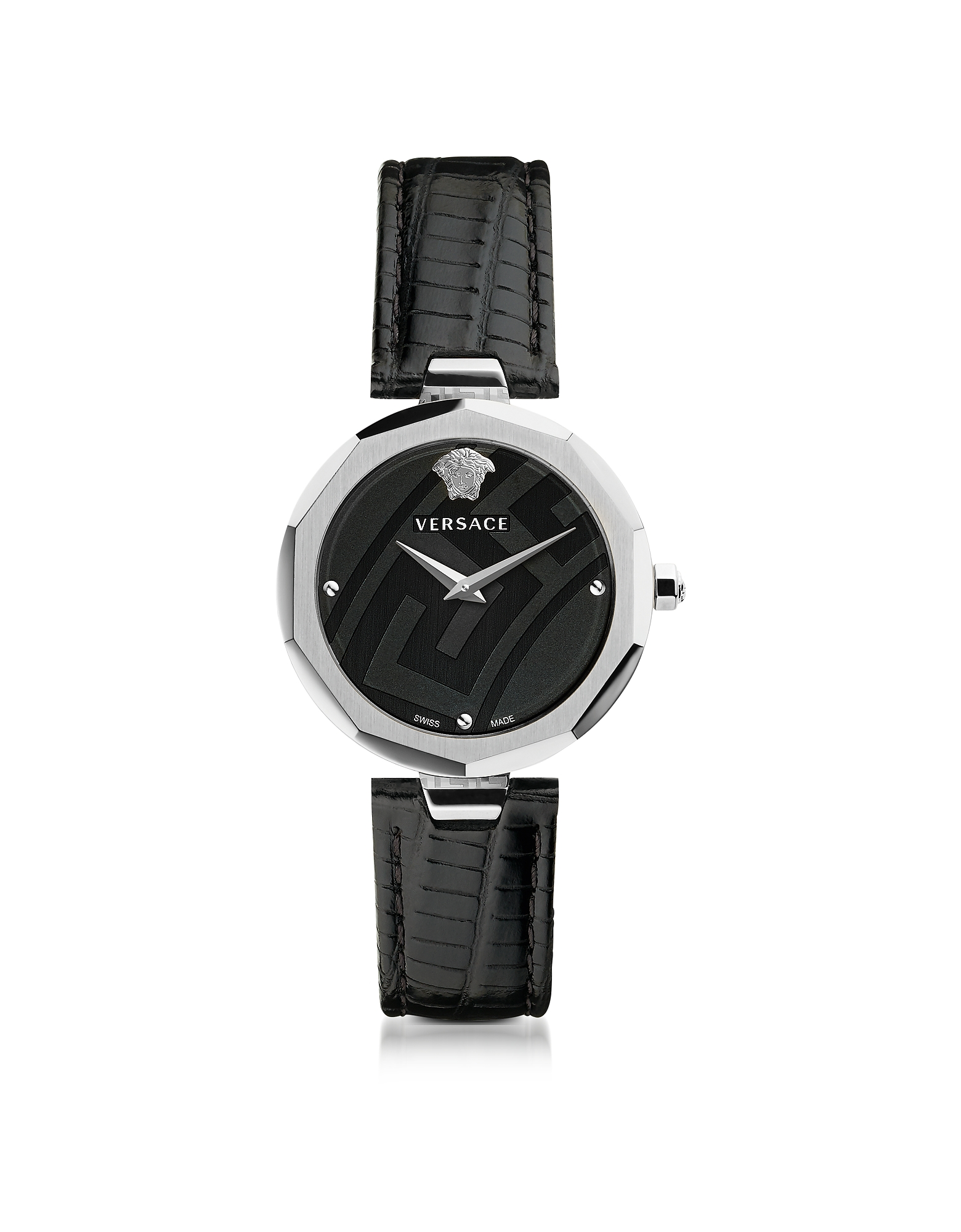 Versace Women's Watches, Idyia Decagonal Black and Silver Women's Watch w/Greek Engraving