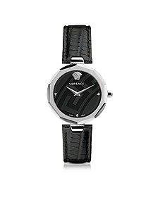 Idyia Decagonal Black and Silver Women's Watch w/Greca Engraving - Versace