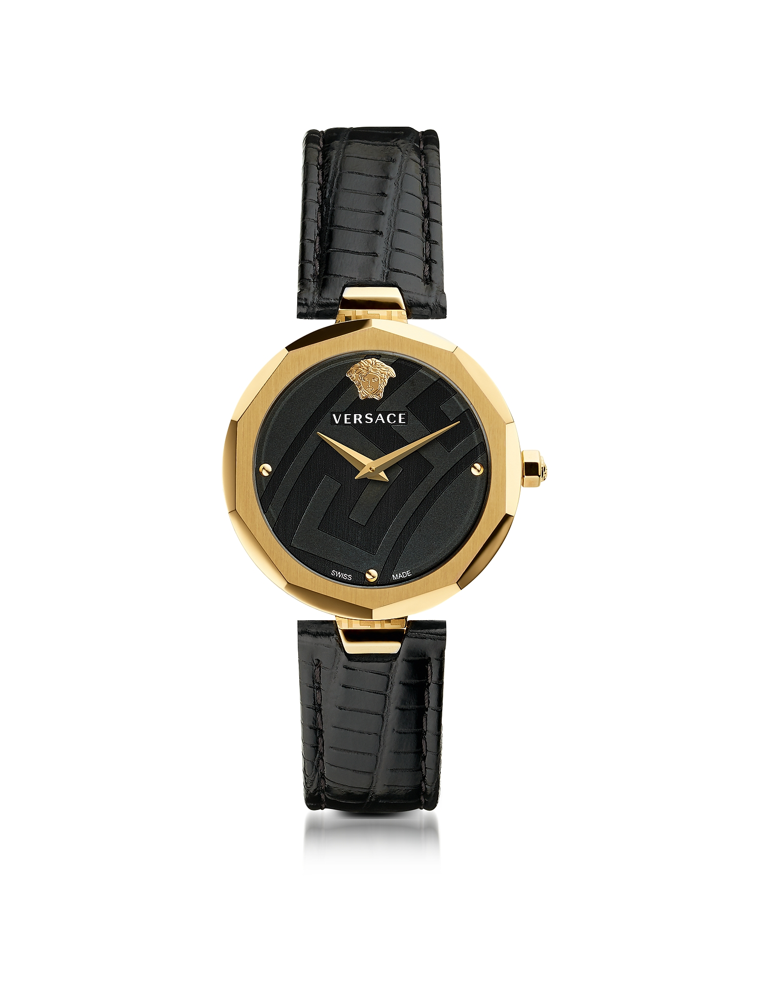 Versace Women's Watches, Idyia Decagonal Black and Gold Women's Watch with Greek Engraving