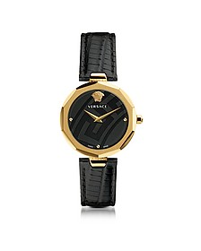 Idyia Decagonal Black and Gold Women's Watch w/Greca Engraving - Versace