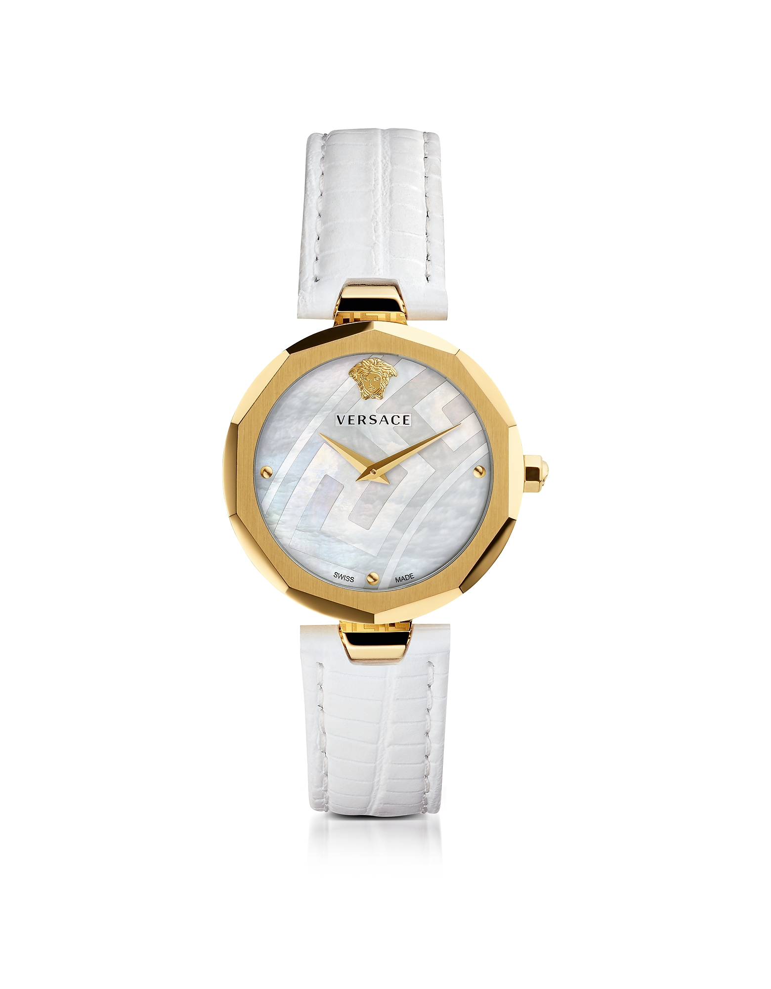 Versace Women's Watches, Idyia Decagonal White Women's Watch w/Greek Engraving