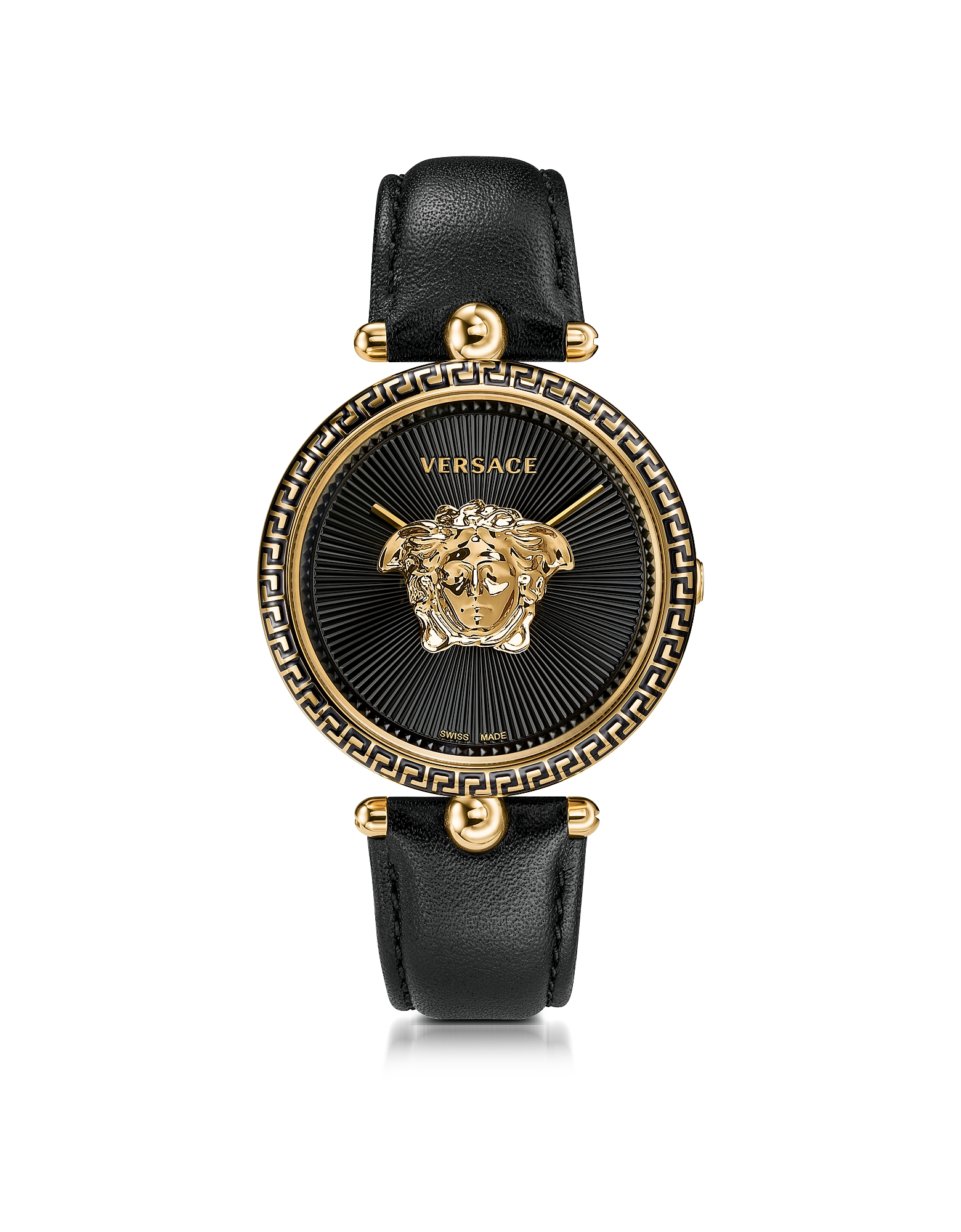 Versace Women's Watches, Palazzo Empire Black and PVD Plated Gold Women's Watch w/3D Medusa