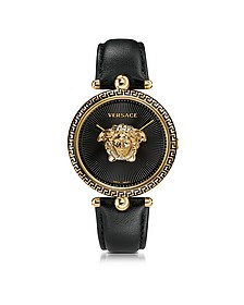 Palazzo Empire Black and PVD Plated Gold Unisex Watch w/3D Medusa - Versace