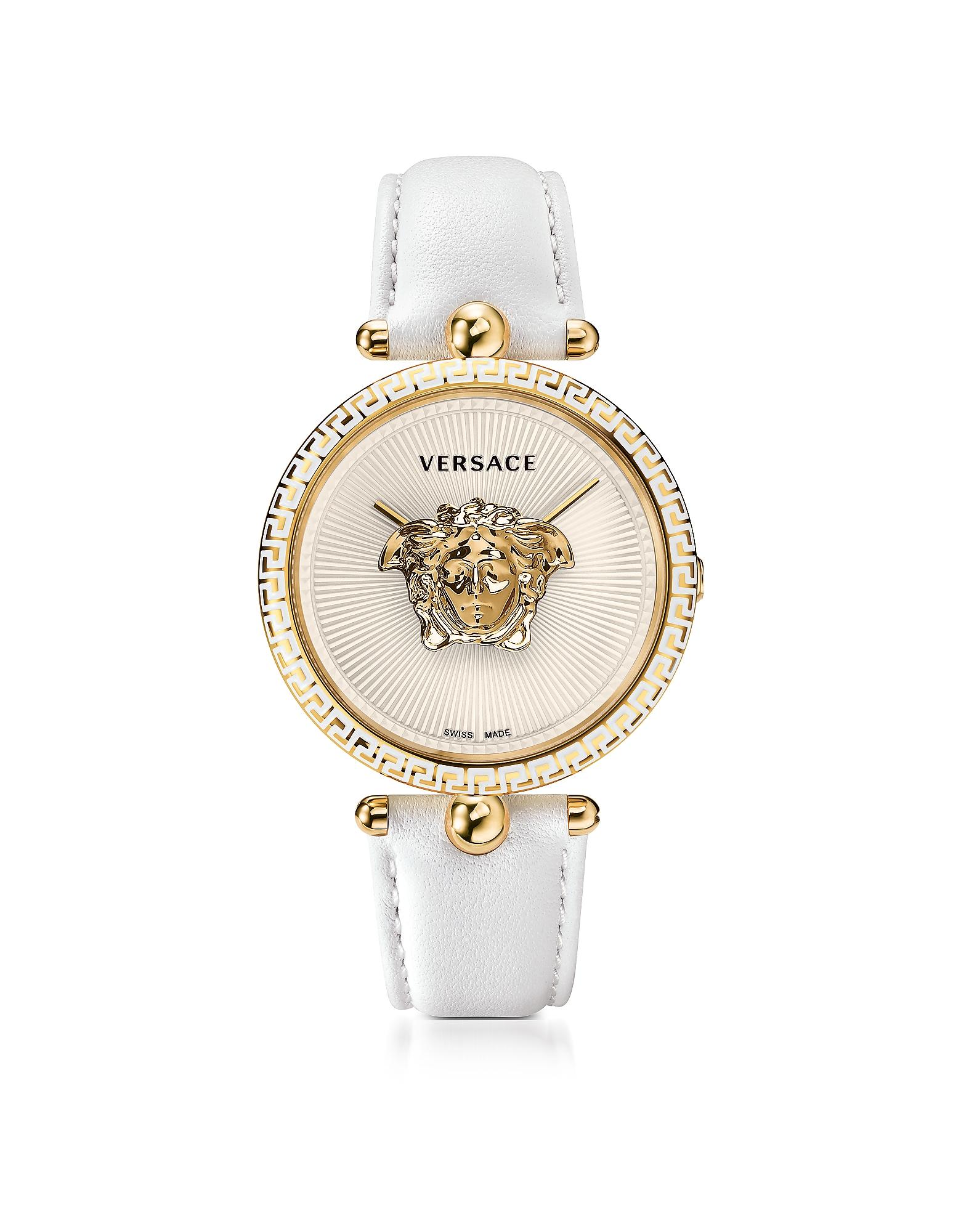 Фото Palazzo Empire - Белые и Позолоченные Часы Унисекс  с Логотипом Медузой 3D. Купить с доставкой