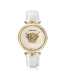 Palazzo Empire White and PVD Plated Gold Women's Watch w/3D Medusa - Versace