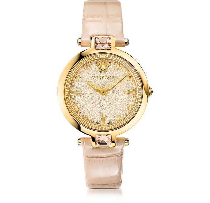 Crystal Gleam Ivory Women's Watch w/Guilloché Dial and Croco Embossed Band