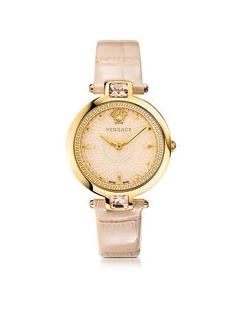 Versace - Crystal Gleam Ivory Women's Watch w/Guilloch Dial and Croco Embossed Band