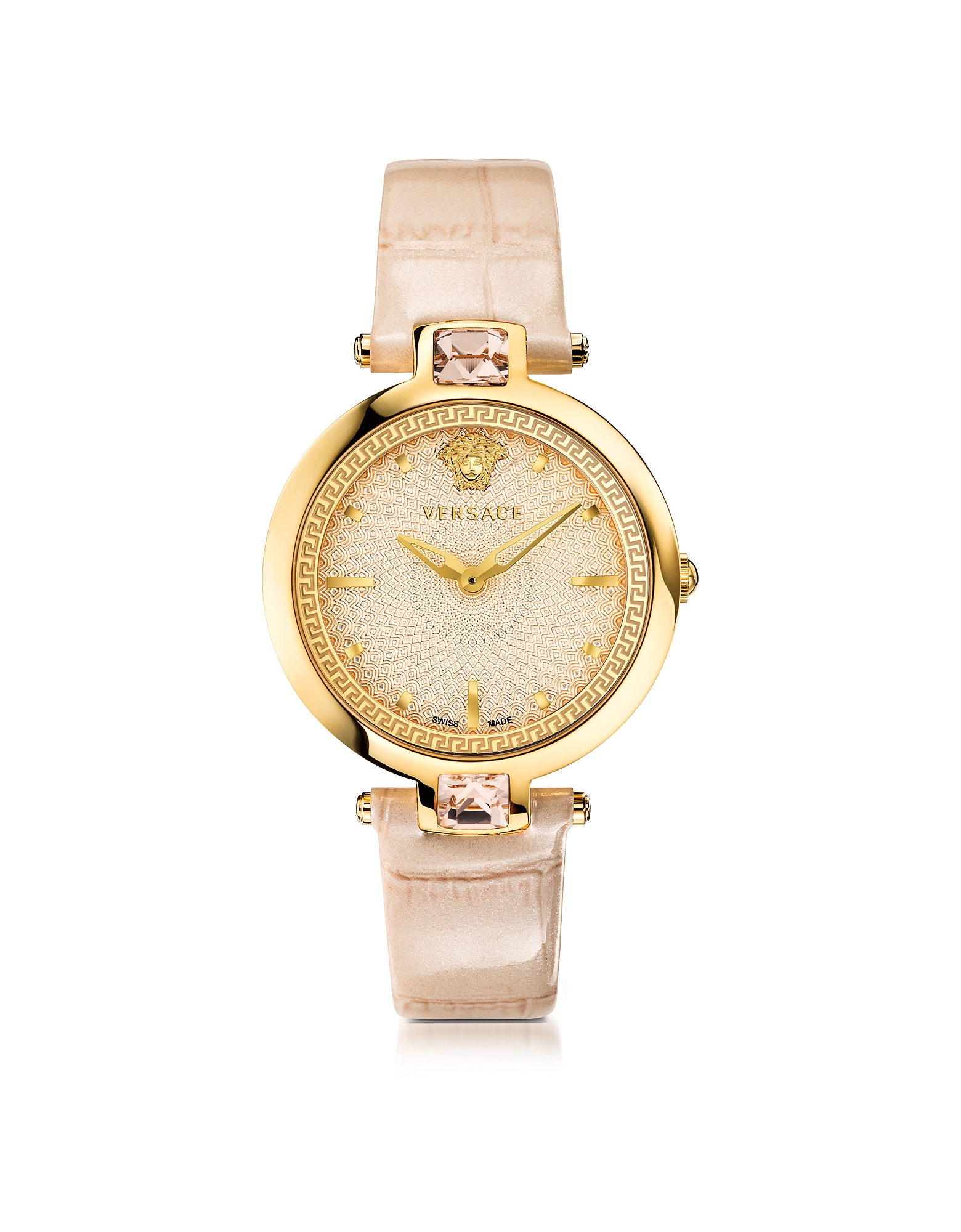 Versace Women's Watches, Crystal Gleam Ivory Women's Watch w/Guilloché Dial and Croco Embossed Band