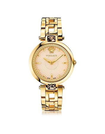 Crystal Gleam Gold Women's Watch w/Ivory Guilloché Dial