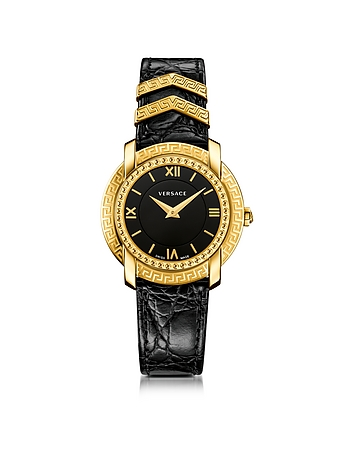 Versace - DV25 Round Black and Gold Women's Watch w/Croco Embossed Band and Metal Inserts
