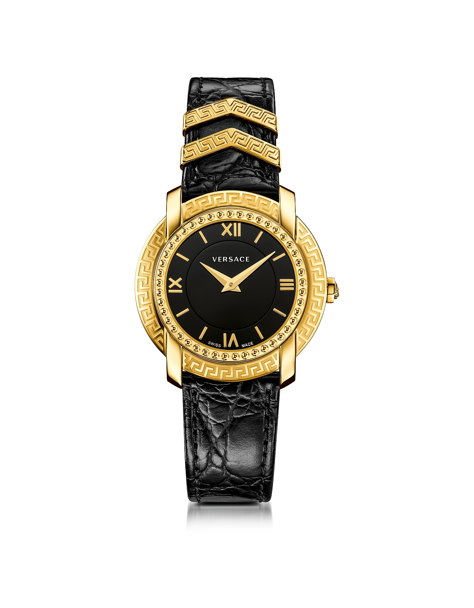 Versace Women's Watches, DV25 Round Black and Gold Women's Watch w/Croco Embossed Band and Metal Ins