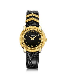 DV25 Round Black and Gold Women's Watch w/Croco Embossed Band and Metal Inserts - Versace
