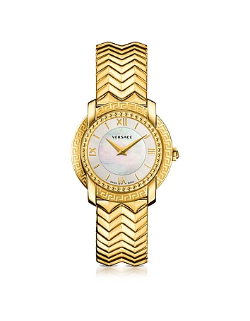 DV25 Round Gold Women's Watch w/Mother of Pearl Dial