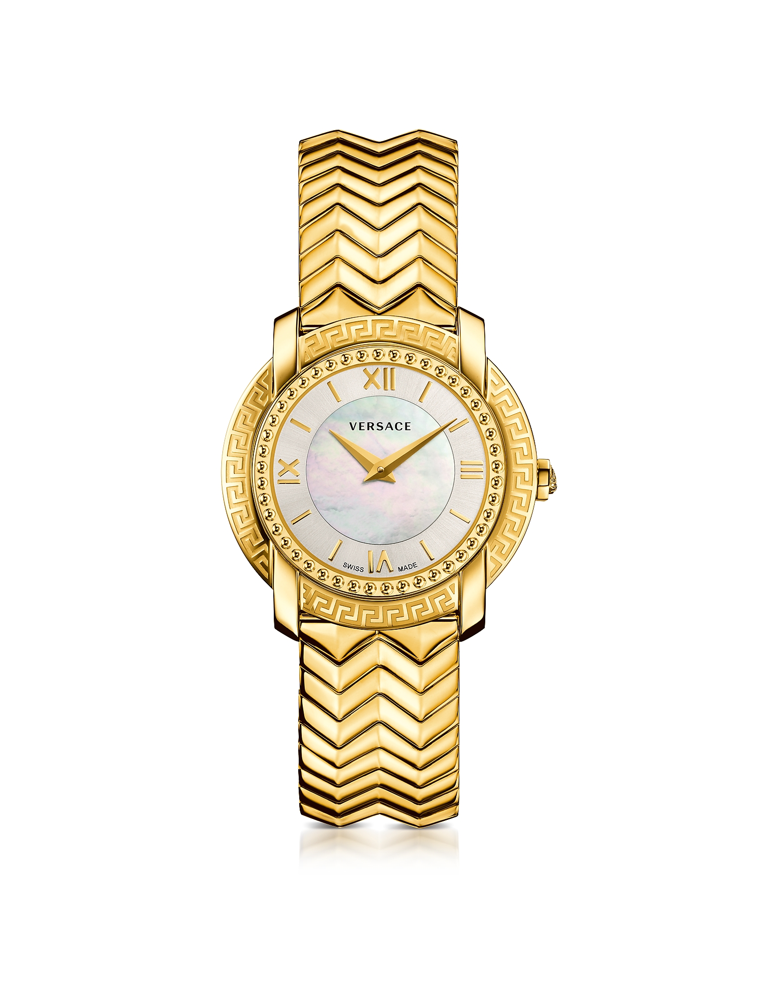 Versace Women's Watches, DV25 Round Gold Women's Watch w/Mother of Pearl Dial