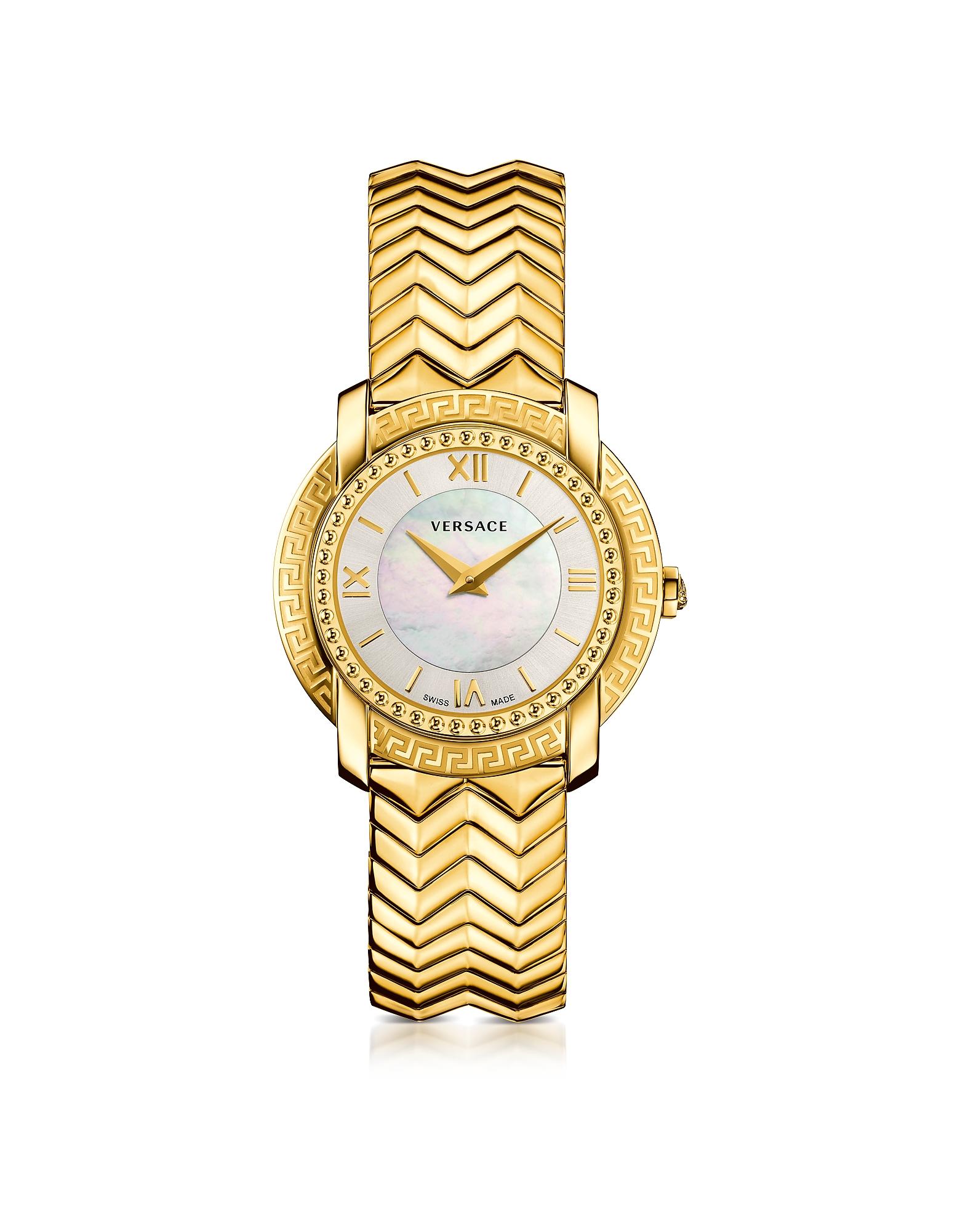 Фото DV25 - Круглые Золотые Женские Часы с Перламутровым Циферблатом. Купить с доставкой