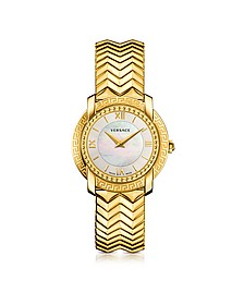 DV25 Round Gold Women's Watch w/Mother of Pearl Dial  - Versace