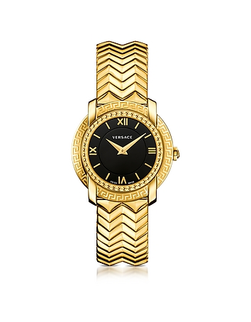 Versace - DV25 Round Gold Women's Watch w/Black Dial