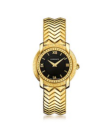 DV25 Round Gold Women's Watch w/Black Dial - Versace
